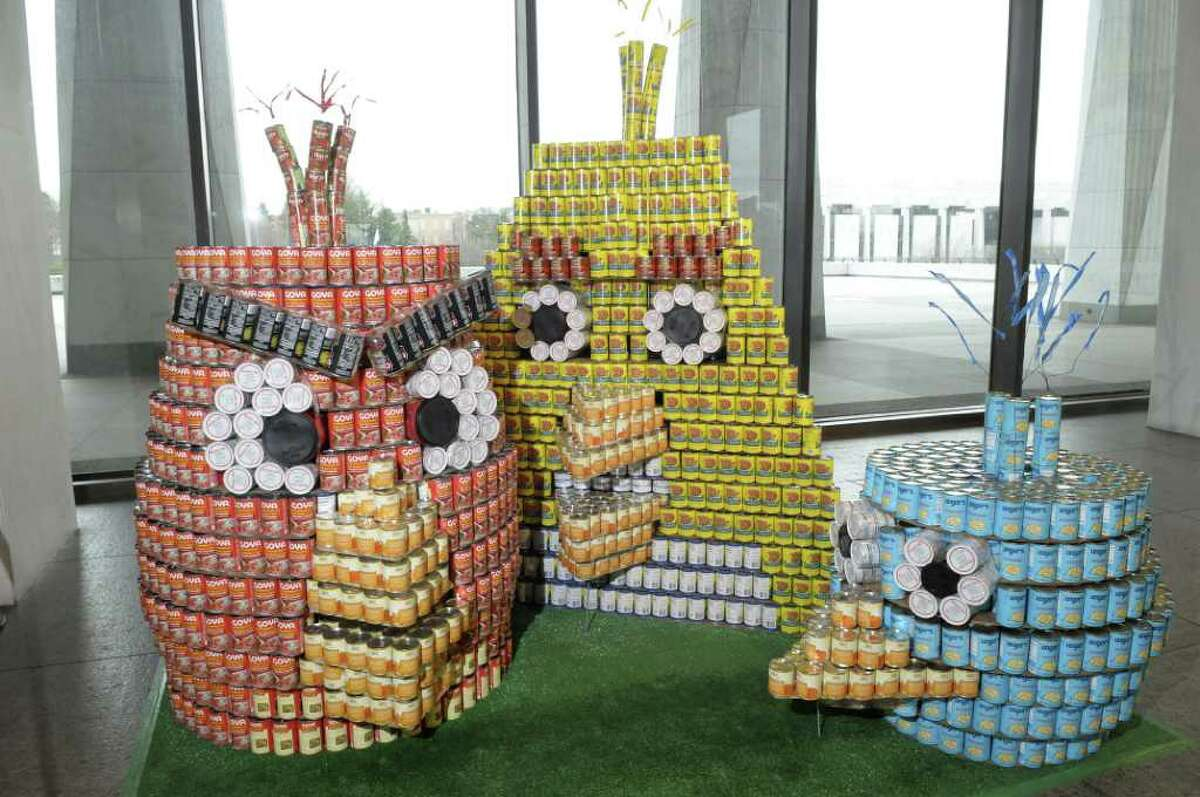 A view of the Angry Canaries sculpture that is part of the Canstruction exhibit in the Terrace Gallery at the New York State Museum on Wednesday morning, April 13, 2011 in Albany. (Paul Buckowski / Times Union)