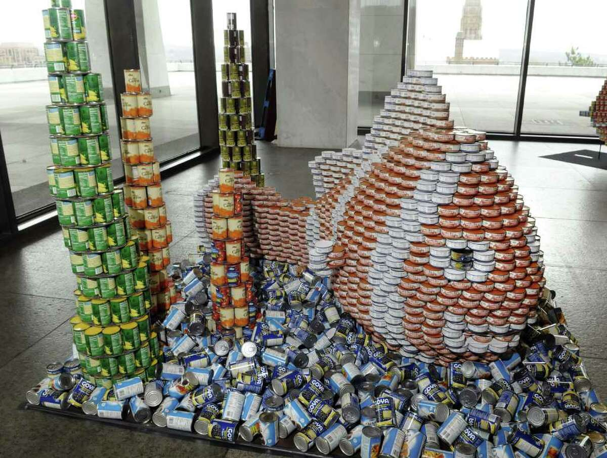 A view of the Hunger An-Enemy (ANEMONE) sculpture that is part of the Canstruction exhibit in the Terrace Gallery at the New York State Museum on Wednesday morning, April 13, 2011 in Albany. (Paul Buckowski / Times Union)