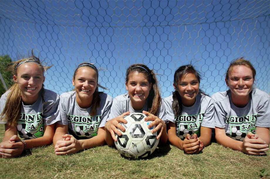Johnson defender Courtney Kukes (from left), goalie Peyton Hieb, and defenders Lindsey Holland, Adriana Garcia, and Bridget Gleason anchor an efficient unit for the Jaguars. Photo: Jennifer Whitney/Special To The Express-News / special to the Express-News