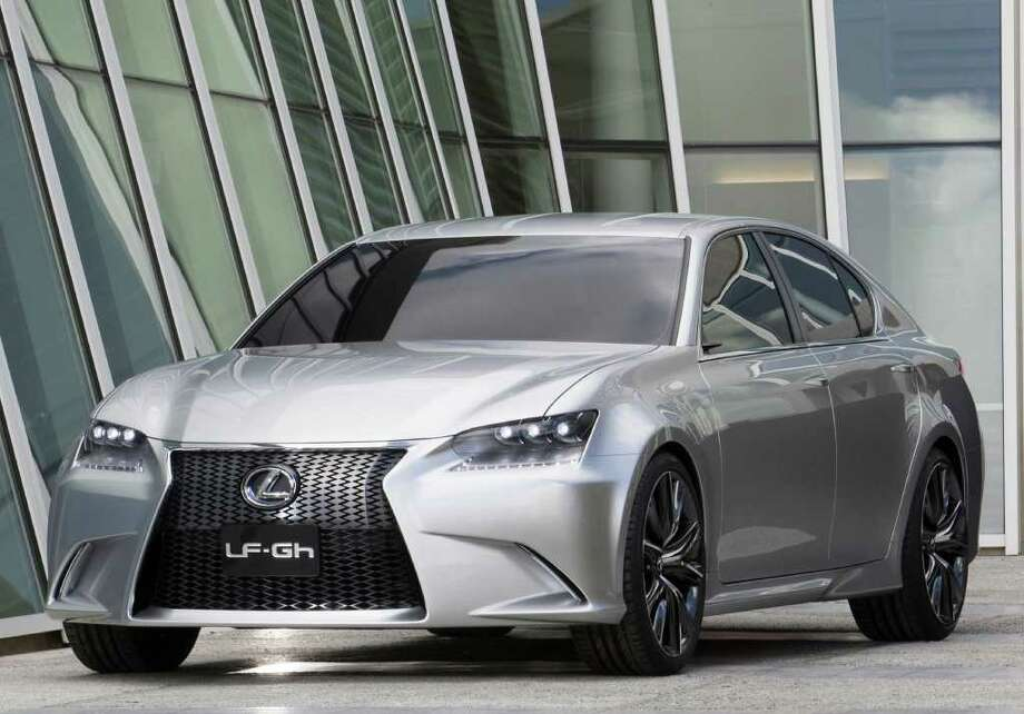 The distinctive front end of the Lexus LF-Gh hybrid premium sedan concept includes such touches as LED daytime running lights under the headlights. Photo: Toyota Motor Sales U.S.A., COURTESY OF TOYOTA MOTOR SALES U.S.A.