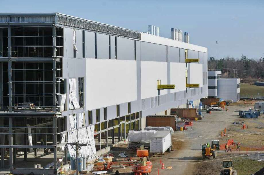 View of one of the sides of the new GlobalFoundries chip fabrication plant under construction on Thursday April 7, 2011 in Malta, NY.  (Philip Kamrass/ Times Union ) Photo: Philip Kamrass