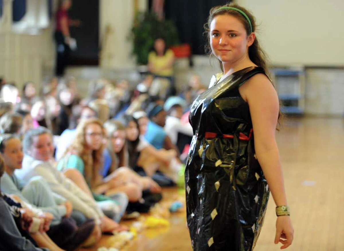 Abbey Maloney dons a contractor bag for the sixth annual Earth Day fashion show at Lauralton Hall in Milford, Conn. Friday, April 15, 2011.