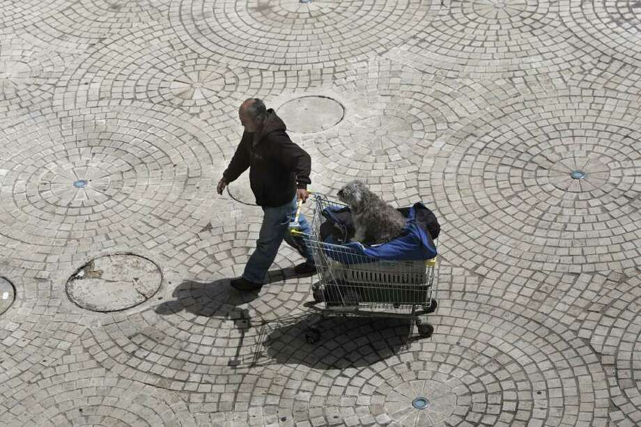 A man pulls a shopping cart with his dog in Jerusalem on April 13, 2011. Photo: AFP/Getty Images