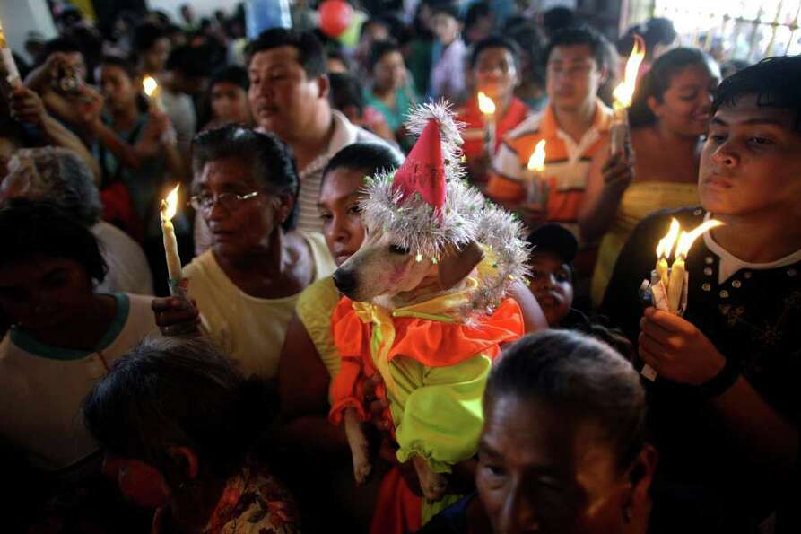 A dog wearing a clown costume is held up to be blessed during a mass in honor of Saint Lazarus at Ma