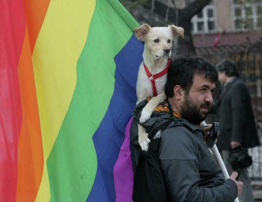 A man and his dog join thousands of people, mostly villagers from Turkey's Black Sea region, on a march on April 9, 2011 to protest against the construction of nuclear energy plants and hydroelectric centrals over their rivers, saying the centrals will affect the ecosystems of rivers and their surrounding areas, which are rich in bio diversity and they will cause serious ecological problems. (AP Photo/Burhan Ozbilici) Photo: Burhan Ozbilici, ASSOCIATED PRESS / AP2011
