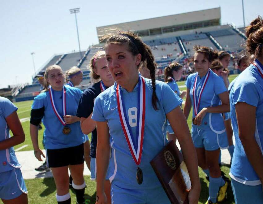 Johnson High School's Lindsey Holland reacts after losing 2-0 against McKinney Boyd High School in their UIL State semifinal match at Birkelbach Field in Georgetown, Texas on Friday, April 15, 2011. Ben Sklar for the San Antonio Express News
