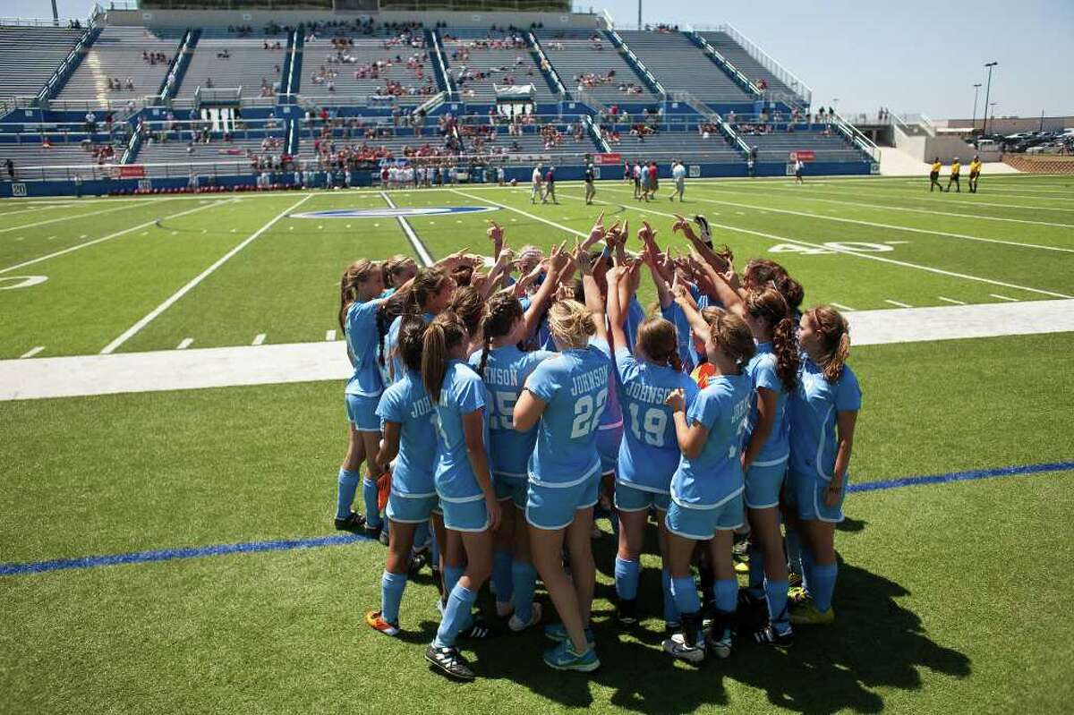 Johnson High School's soccer team prepares for the second half against McKinney Boyd High School before the second half of their UIL State semifinal match at Birkelbach Field in Georgetown, Texas on Friday, April 15, 2011. McKinney won 1-0. Ben Sklar for the San Antonio Express News