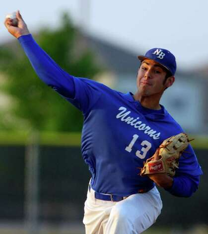 New Braunfels' Ralph Garza pitches against Steele Friday April 15, 2011 at Steele High School. EDWARD A. ORNELAS/Express-News / SAN ANTONIO EXPRESS-NEWS (NFS)