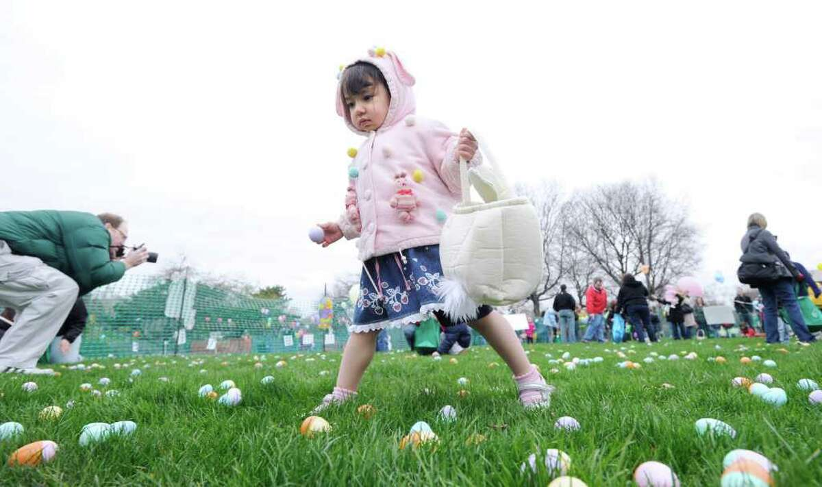 Jennifer Thissen, 2, of Greenwich, during the Greenwich Lions & ShopRite Annual Egg Hunt at Roger Sherman Baldwin Park, Greenwich, Saturday morning, April 16, 2011.