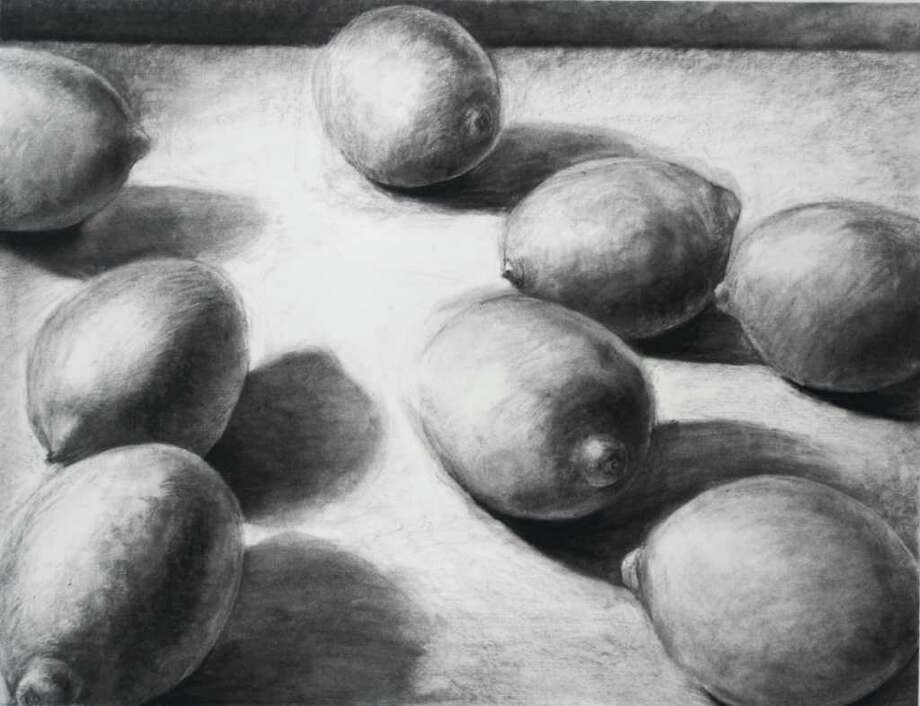 """Max Seiler of Bethlehem High School was awarded the juror?s choice for drawing at the 20th Annual High School Art Regional at Fulton-Montgomery Community College for his piece """"Lemons."""""""