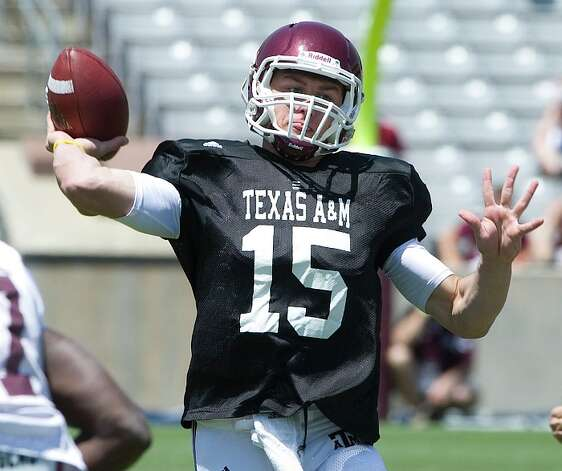 Texas A&M's freshman quarterback Johnny Manzeil prepares to pass during the annual Maroon and White Game at Kyle Field in College Station on Saturday. (Stuart Villanueva/AP-College Station Eagle)