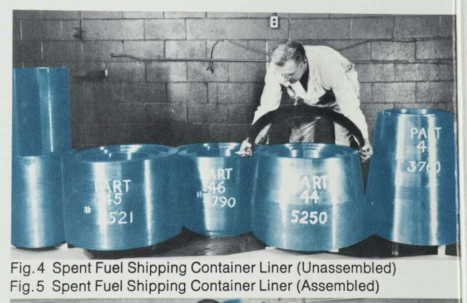 A copy of a photograph from an NL Industries brochure from over 35 years ago shows Mike Aidala inspecting parts to a spent fuel shipping container liner that the company manufactured. Aidala, now retired, was a head inspector at NL Industries, and still has uranium in his body, a test in 2007 showed.  (Paul Buckowski / Times Union) Photo: Paul Buckowski / 00012574A
