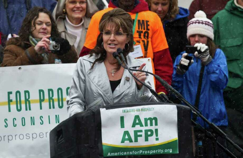 Former Alaska Gov. Sarah Palin speaks at a tax day tea party rally Saturday, April 16, 2011, in Madison, Wis. (AP Photo/Morry Gash) Photo: Morry Gash