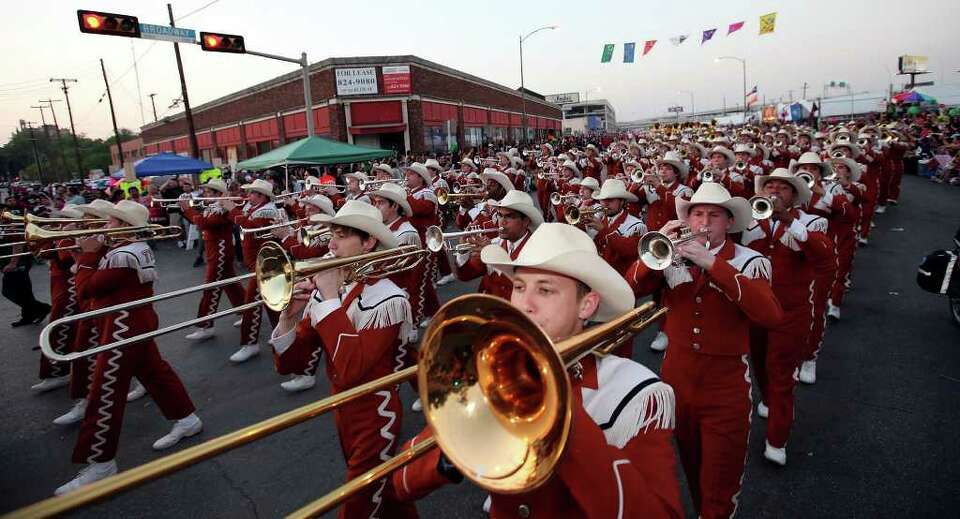 FOR METRO - Members of the University of Texas at Austin Longhorn Band perform during the Fiesta Fla