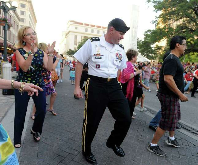 Maj. Gen. Perry Wiggins deputy commanding general, U.S. Army North at Fort Sam Houston, dances the
