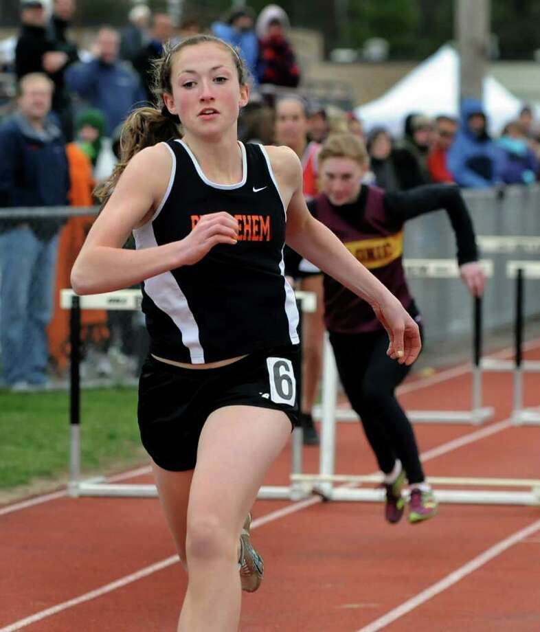 Bethlehem's Jackie Kearney heads for the finish line to win the 100-meter hurdles final during the Lady Eagles Invitational on Saturday, April 16, 2011, at Bethlehem High in Bethlehem, N.Y. (Cindy Schultz / Times Union) Photo: Cindy Schultz