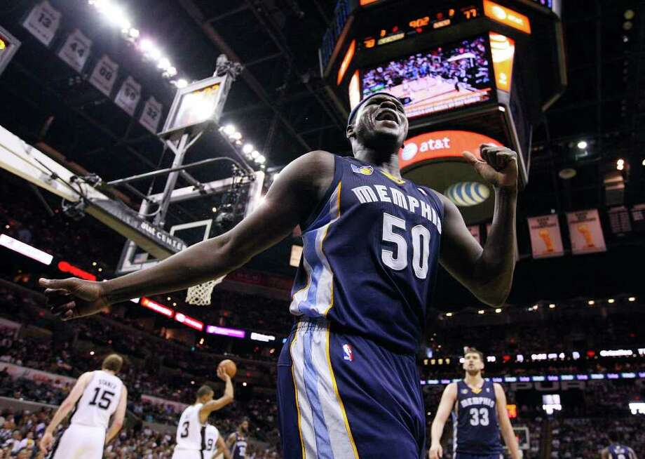 FOR SPORTS - Memphis Grizzlies' Zach Randolph reacts after being fouled by San Antonio Spurs' Antonio McDyess during second half action of game one in the NBA Western Conference First Round at the AT&T Center Sunday April 17, 2011. The Grizzlies won 101-98.   (PHOTO BY EDWARD A. ORNELAS/eaornelas@express-news.net) Photo: EDWARD A. ORNELAS, SAN ANTONIO EXPRESS-NEWS / SAN ANTONIO EXPRESS-NEWS (NFS)