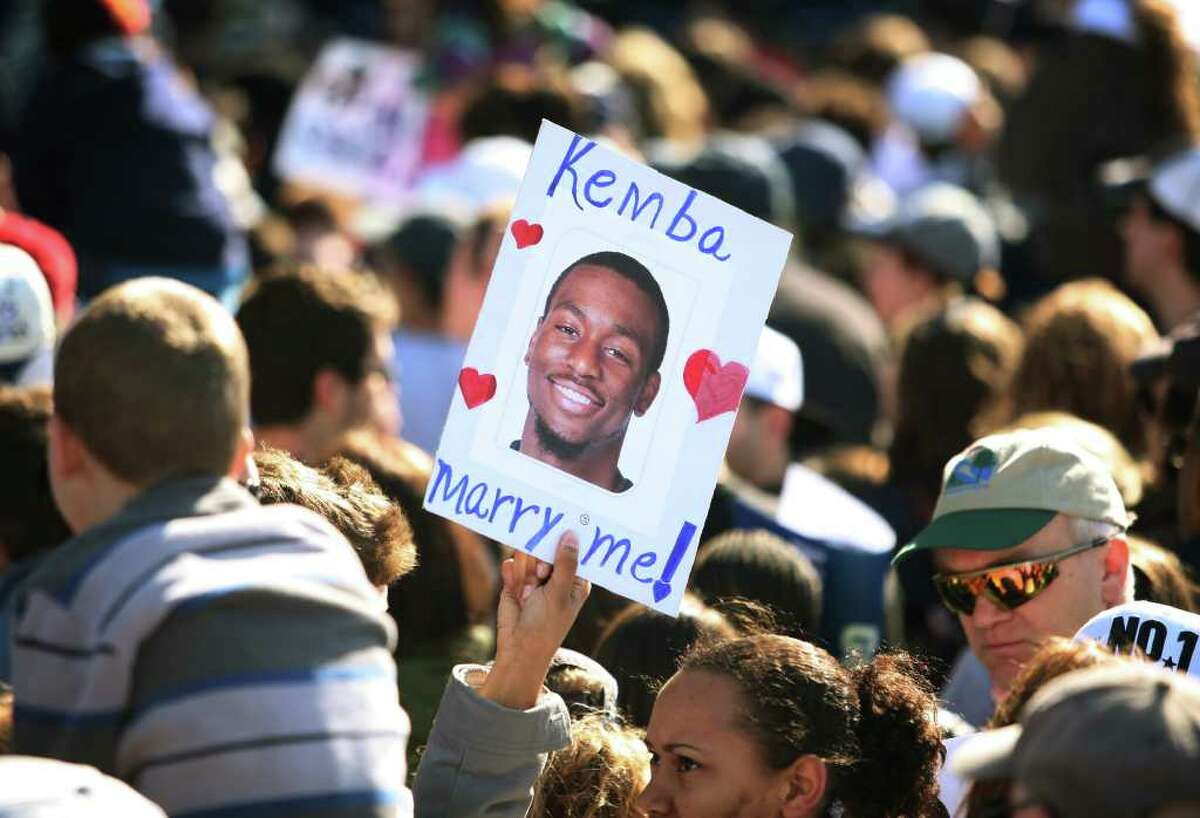 A marraige proposal for UConn star player Kemba Walker during the UConn men's basketball NCAA Championship rally in Hartford on Sunday, April 17, 2011.