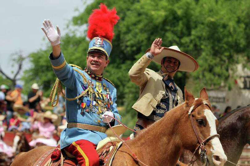 King Antonio William Mitchell is introduced at the Fiesta Charreada at the San Antonio Charro Ranch,