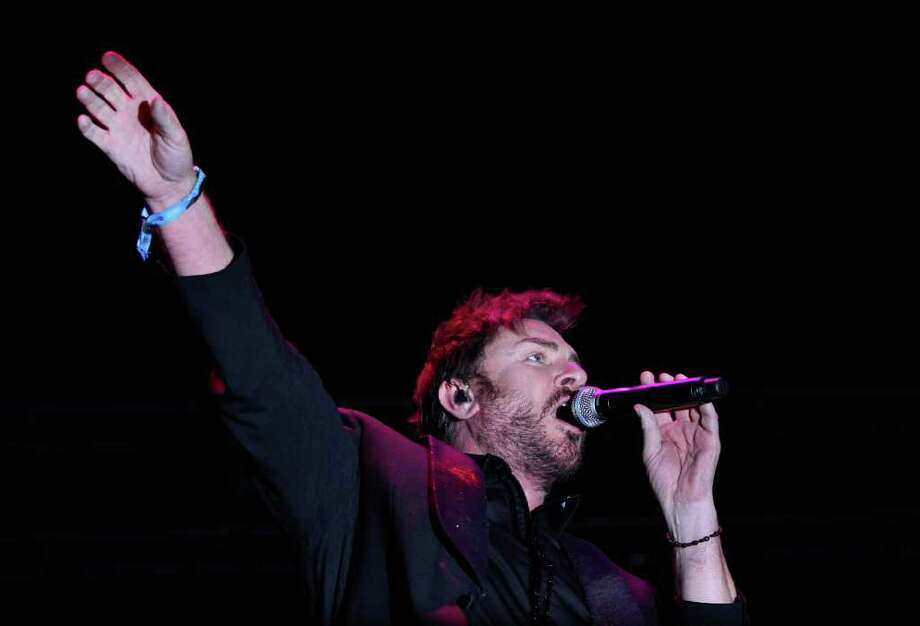 Duran Duran lead singer Simon Le Bon performs during the last day of the Coachella Valley Music & Arts Festival, Sunday, April 17 2011, in Indio, Calif. Photo: AP