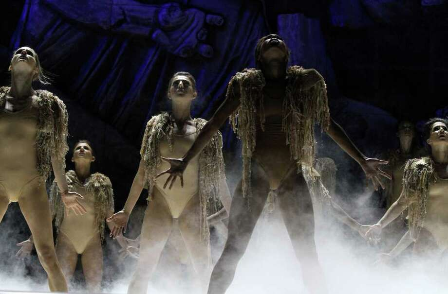 Dancers appear onstage during Kanye West performance at the Coachella Valley Music & Arts Festival, Sunday, April 17 2011, in Indio, Calif. Photo: AP