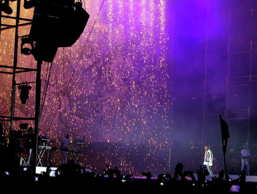 A pyrotechnics display is seen during Kanye West performance at the Coachella Valley Music & Arts Festival, Sunday, April 17 2011, in Indio, Calif.
