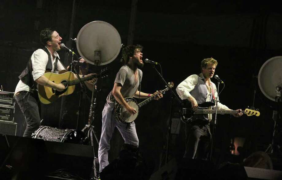 Mumford and Sons during performance at Coachella Valley Music and Arts Festival, Saturday, April 16 2011, in Indio, Calif. Photo: AP