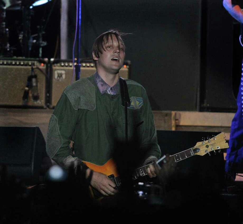 Win Butler, lead vocalist and songwriter of rock band Arcade Fire performs at Coachella Valley Music and Arts Festival, Saturday, April 16 2011, in Indio, Calif. Photo: AP