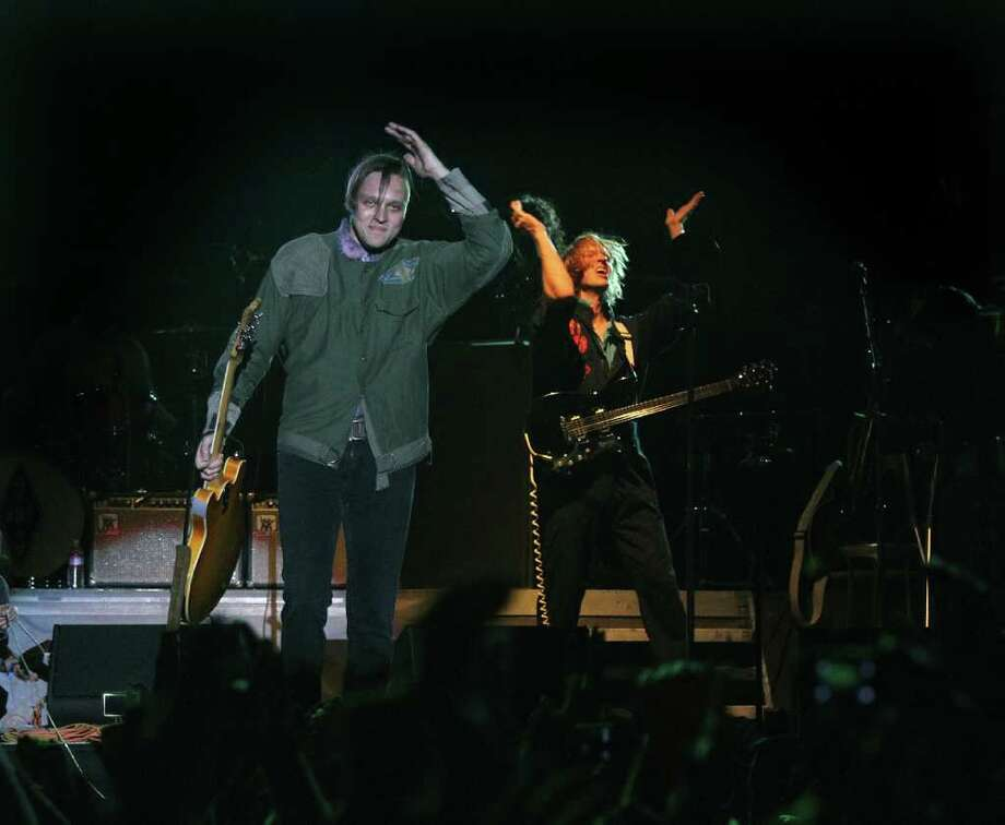Arcade Fire's Win Butler, waves to fans after his performance at Coachella Valley Music and Arts Festival, Saturday, April 16 2011, in Indio, Calif. Photo: AP
