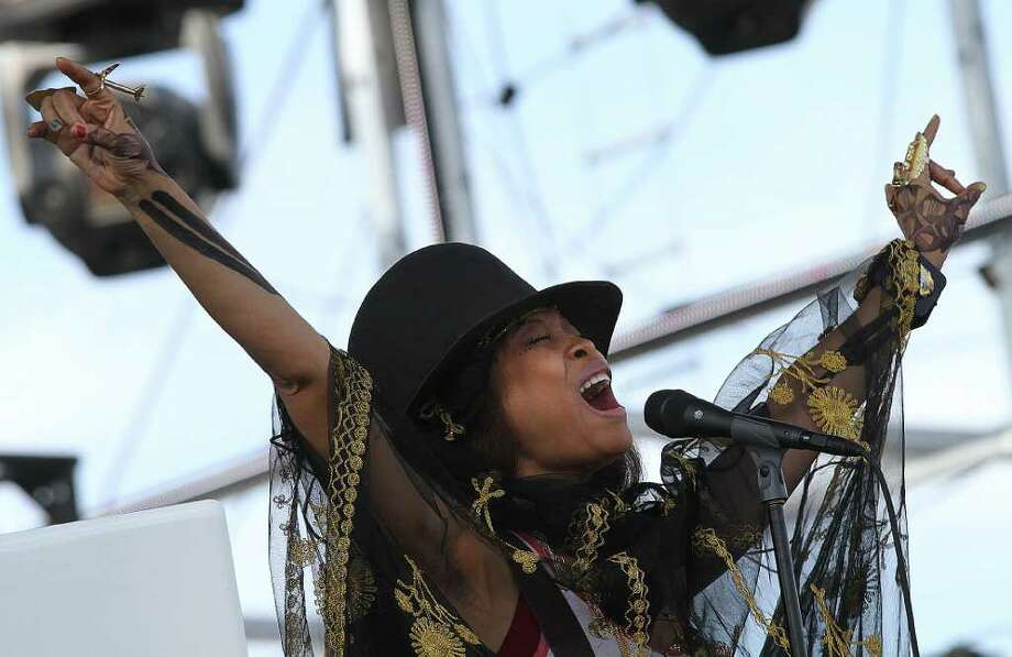 Erykah Badu during performance at Coachella Valley Music and Arts Festival, Saturday, April 16 2011, in Indio, Calif. Photo: AP