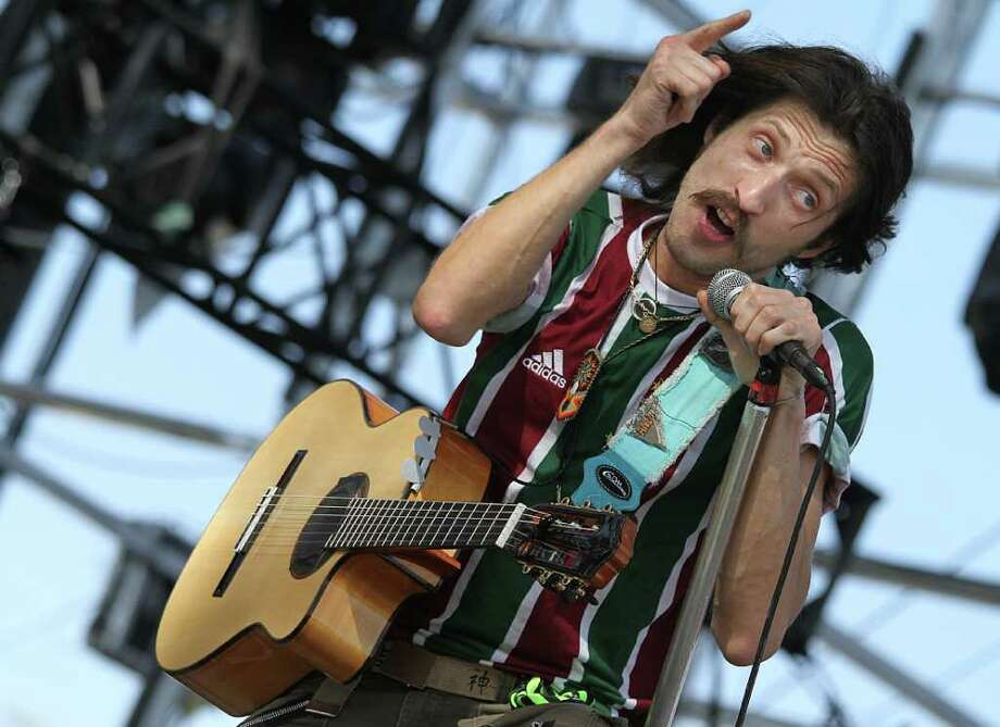 Eugene Hutz, the lead singer for Gogol Bordello during performance at Coachella Valley Music and Arts Festival, Saturday, April 16 2011, in Indio, Calif. Photo: AP