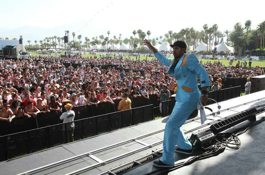 Justin Porée performing with Ozomatli at Coachella Valley Music and Arts Festival, Friday, April 15 2011, in Indio, Calif. Photo: AP