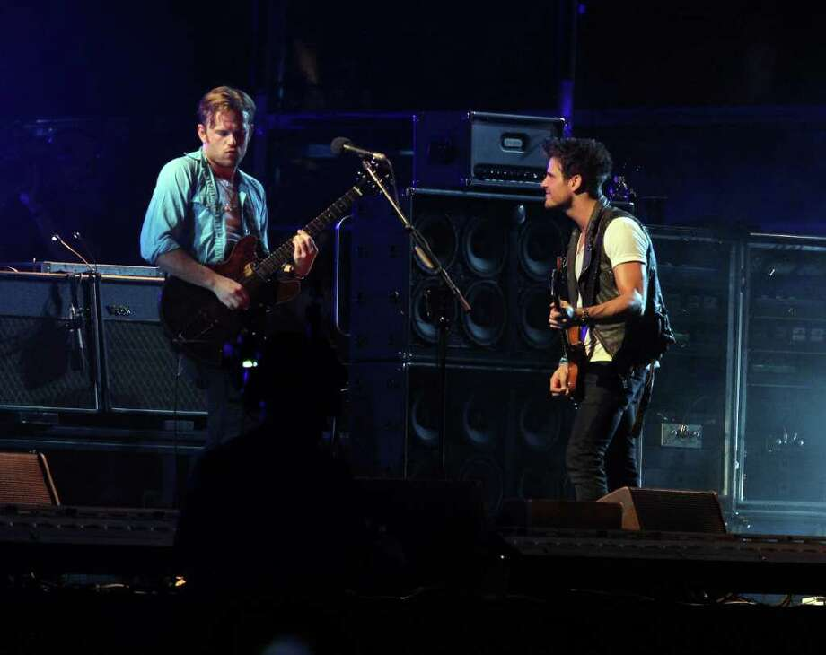 Kings of Leon perform during 12th Coachella Valley Music and Arts Festival, Friday, April 15 2011, in Indio, Calif. Photo: AP
