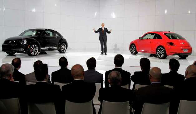 Jonathan Browning, president and CEO, Volkswagen Group of America, introduces the 2012 Volkswagen Beetle, in New York, Monday, April 18, 2011. Photo: Richard Drew, AP / AP