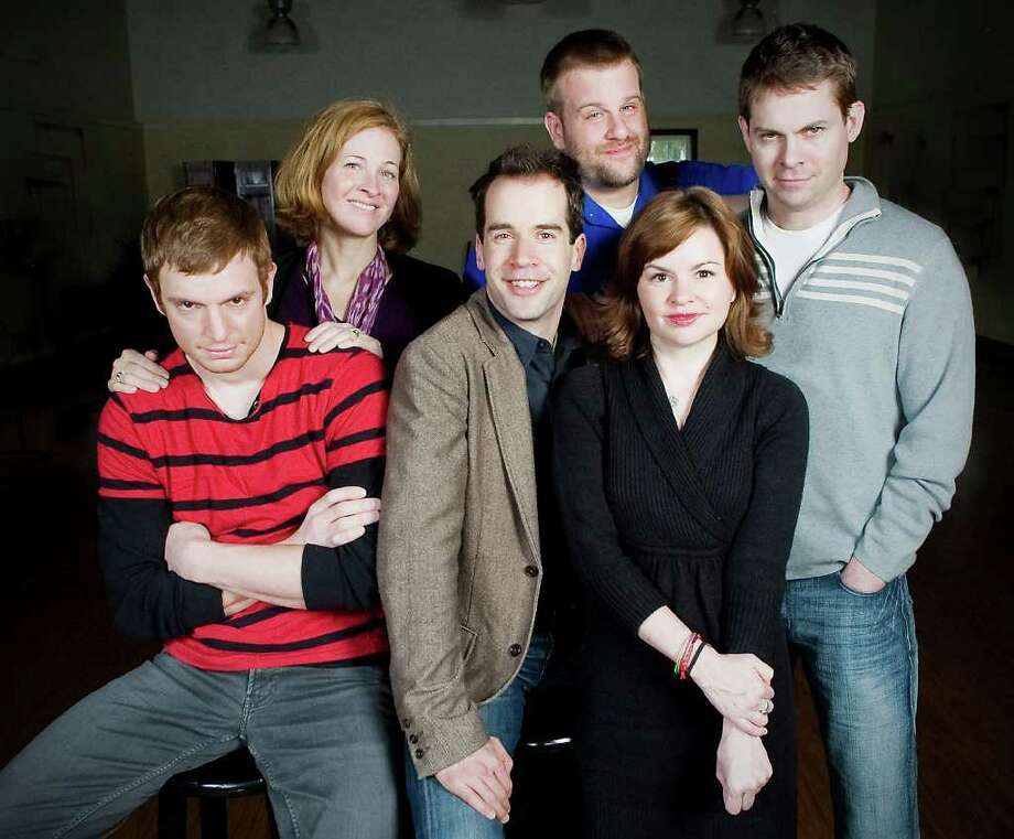 The cast of Westport Country Playhouse's 'Beyond Therapy,' are, from left, Nick Gehlfuss, Kathleen McNenny, Jeremy Peter Johnson, Stephen Wallem, Nicole Lowrance and Trent Dawson. The comedy opens the playhouse's 2011 season, April 26. Photo: Contributed Photo / Stamford Advocate Contributed