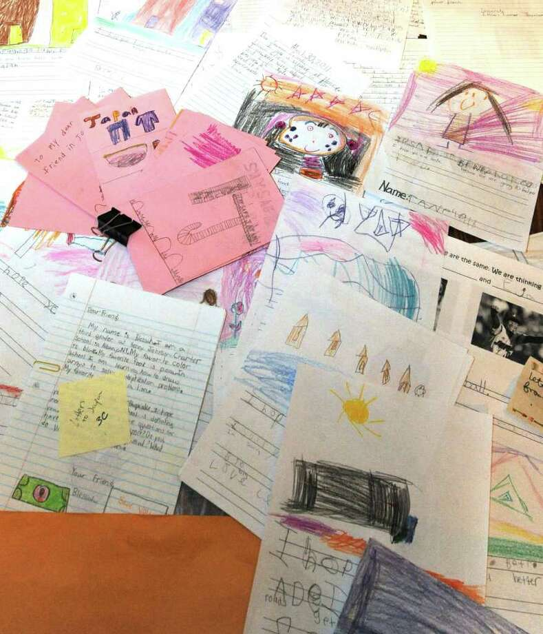 Letters in the home of Nicholas Koopman, a second grader at Henry Johnson Charter School organized April 18, 2011, gathered as part of fund drive to assist Japan in their recovery.(Skip Dickstein/ Times Union) Photo: Skip Dickstein