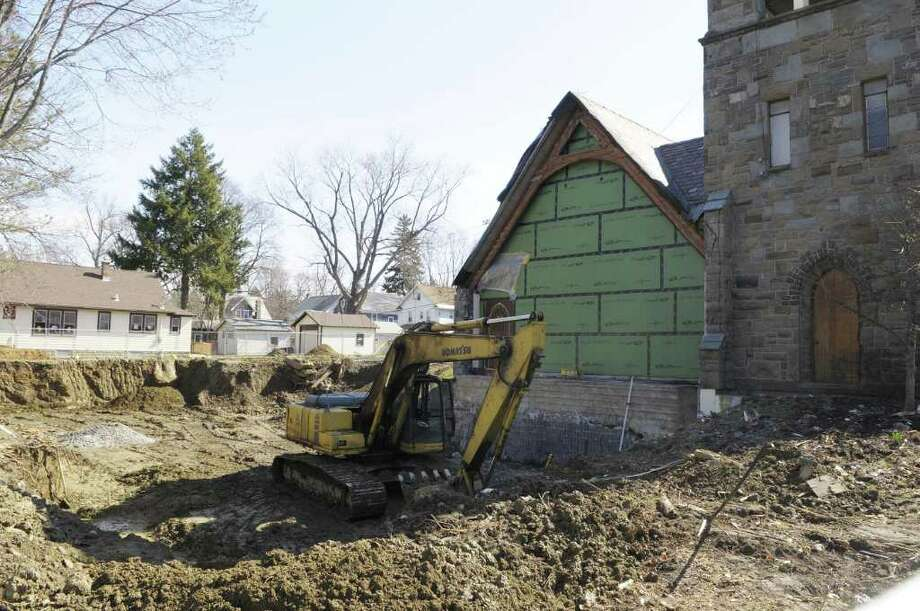 Construction work continues on a parish hall that is part of a $2.2 million construction project at St. Stephen's Episcopal Church, seen here on Monday morning, April 18, 2011 in Schenectady. (Paul Buckowski / Times Union) Photo: Paul Buckowski / 00012827A