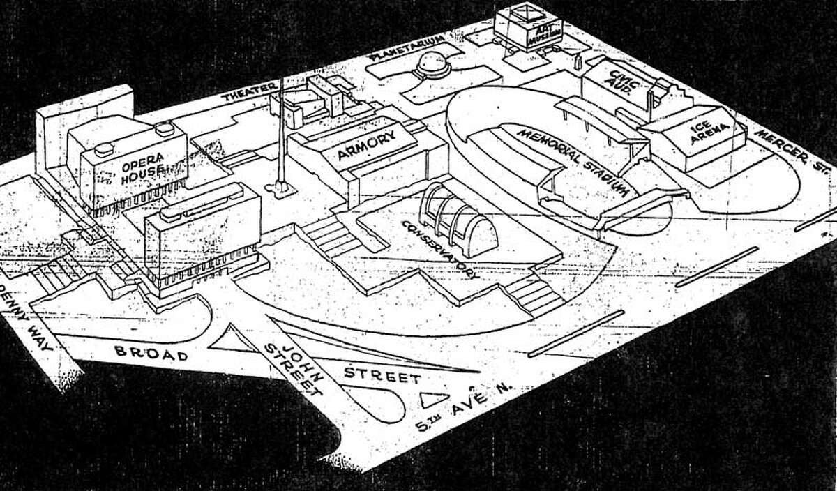 A 1950 drawing of what was proposed for what's now Seattle Center. The same day this drawing ran in the P-I, Jan. 8, 1950, the P-I ran the first article about the potential for a Seattle-area world's fair. (seattlepi.com file)