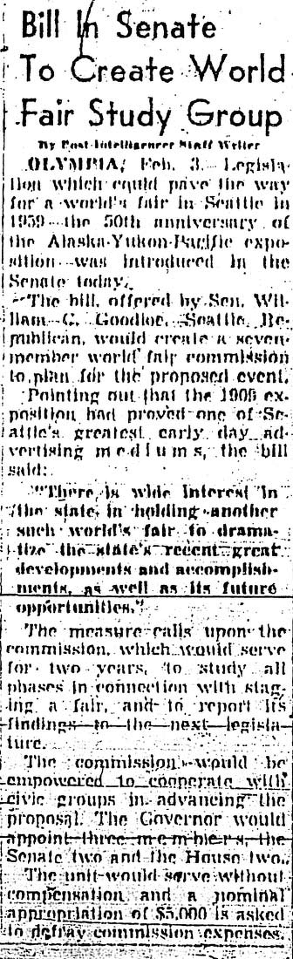 The Feb. 4, 1955 P-I article about what would become the World Fair Commission. (seattlepi.com file)