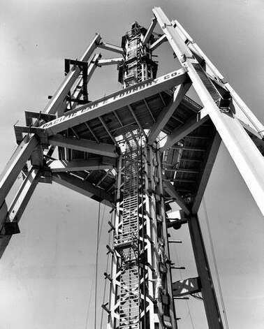 Space Needle construction, 1961. (seattlepi.com file)