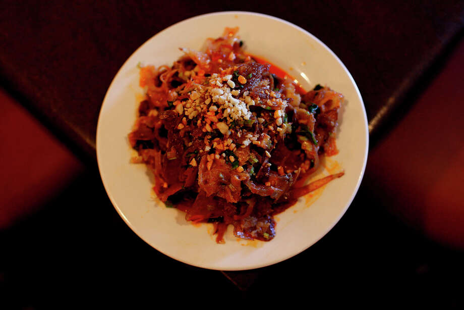 An appetizer of shaved beef tendon and tripe in spicy oil and fresh cilantro won a recent Chinese culinary competition. LISA KRANTZ / EXPRESS-NEWS / SAN ANTONIO EXPRESS-NEWS