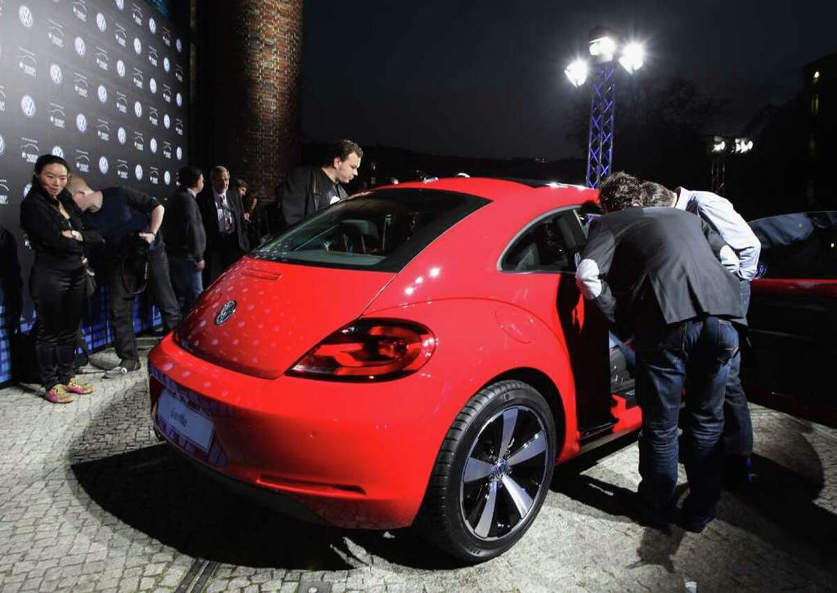 The Volkswagen New Beetle sits on display during the world premiere of the 21st Century Beetle at ewerk on April 18, 2011, in Berlin, Germany.