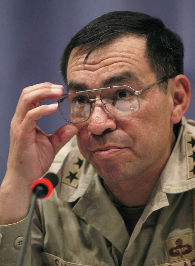 U.S. Lt. Gen. Ricardo Sanchez speaks to media on the state of Iraq at a news conference, Thursday, Aug. 7, 2003, in Baghdad, Iraq. Sanchez commander of U.S. ground forces in Iraq, said Baghdad is still a war zone and confirmed that the U.S. forces are not protecting foreign embassies. The Jordanian embassy was bombed Thursday by unknowns killing at least 11 and injuring over 50. Photo: DANA SMILLIE, AP / AP