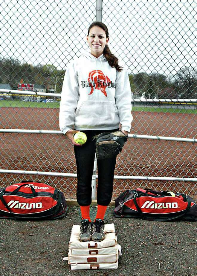 Stamford High School softball player Chelsea Sciarretta is this years recipient of the Allyson Rioux award. She stand at the softball field at Stamford High School in Stamford, Conn. on Tuesday April 19, 2011. Photo: Kathleen O'Rourke / Stamford Advocate
