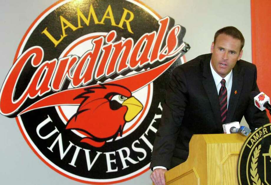 Lamar University's new Head Basketball Coach Pat Knight, meets the press and answers questions about himself, his wife, his career at Texas Tech, and his father at the official Press Conference Tuesday afternoon.  Knight, who takes over the program from Steve Roccaforte, becomes the 10th coach for Lamar University since it became a four year college in 1951. Dave Ryan/The Enterprise. / Beaumont