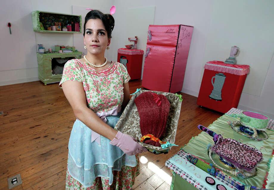 Suchil Coffman-Guerra presents The Kitchen Goddess, her fabric  installation at Bihl Haus Arts. EDWARD A.  ORNELAS/eaornelas@express-news.net) / SAN ANTONIO EXPRESS-NEWS (NFS)