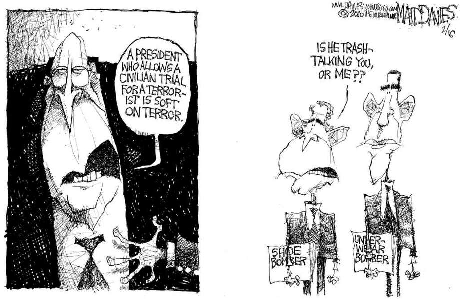 """Matt Davies  of Wilton, who pens an editorial cartoon every Sunday for Hearst Connecticut Newspapers, was a finalist for a Pulitzer Prize in editorial cartooning in 2010, the prize board announced Tuesday. Davies won a Pulitzer in 2004. """"We're really lucky to have Matt's work in our papers,"""" said David McCumber, Hearst Connecticut editorial director. """"He lives in Connecticut and cares about local issues. He is a hard-hitting journalist, a great artist -- and wickedly funny."""" Here's Davies' 2010 Pulitzer portfolio. Photo: Matt Davies"""