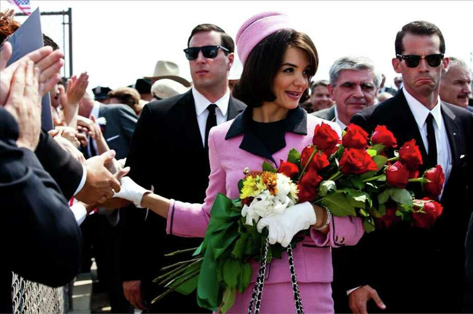 "In this publicity image released by ReelzChannel, Katie Holmes portrays Jacqueline Kennedy in a scene from the eight-part movie, ""The Kennedys,"" premiering Sunday, April 3, 2011 on cable's ReelzChannel network. (AP Photo/ReelzChannel) Photo: HO / ReelzChannel"