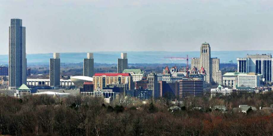 A sunny skyline of Albany from Route 4, in East Greenbush as the region dodges an expected snowstorm Thursday afternoon March 24, 2011.   (John Carl D'Annibale / Times Union) Photo: John Carl D'Annibale / 00012522A