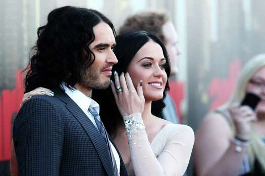 LONDON, ENGLAND - APRIL 19:  (UK TABLOID NEWSPAPERS OUT) Russell Brand and Katy Perry attend the European premiere of Arthur at the Cineworld O2 on April 19, 2011 in London, England.  (Photo by Dave Hogan/Getty Images) *** Local Caption *** Russell Brand;Katy Perry; Photo: Getty Images